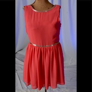 Coral dress with silver beading